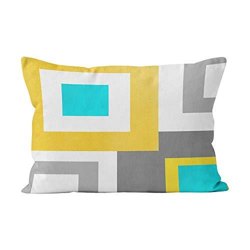 - Gygarden Beauty Boudoir Aqua Yellow Gray White Geometric Hidden Zipper Home Decorative Rectangle Throw Pillow Cover Cushion Case 12x20 Inch One Side Design Printed Pillowcase