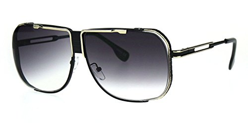 Gazelle Turbo Flat Top Square Oversized Aviator Sunglasses (Black & Gold Frame, Black - Old Aviator School Sunglasses