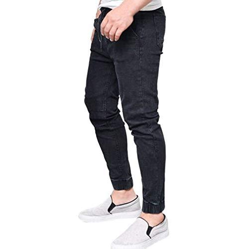 Slim E Elasticizzati Colore Tinta Skinny Sportivi Pantaloni Jeans Di Hop Nero Con In Hip Allenamento Da Unita Uomo Coulisse Solido Classiche Ragazzi dUZvZwIqxn