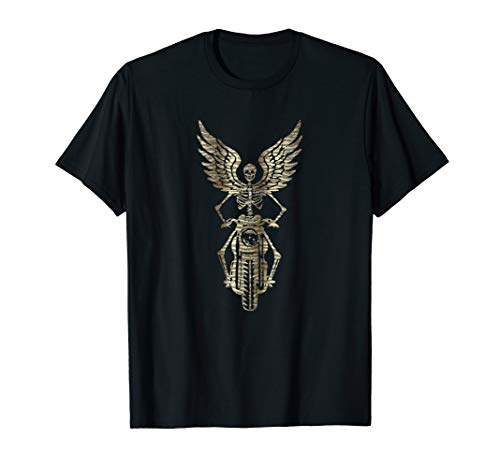Skeleton Biker T-Shirt - Born to Ride - Faux Metallic Zebra ()