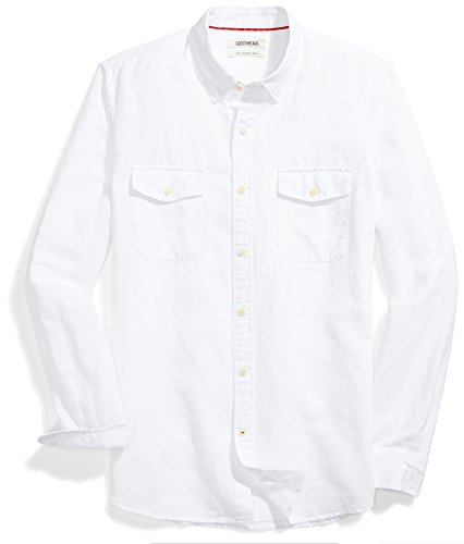 im-Fit Long-Sleeve Linen and Cotton Blend Shirt, White, Large ()