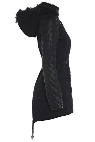 SS7 para Negro Parka mujer Abrigo negro ZZqap