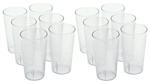 Winco - Clear Plastic Tumbler/Stackable Restaurant Beverage cup,1-Pack of 12,16 oz.