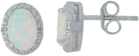 Genuine Opal & Diamond Oval Stud Earrings 14Kt White Gold & Sterling Silver