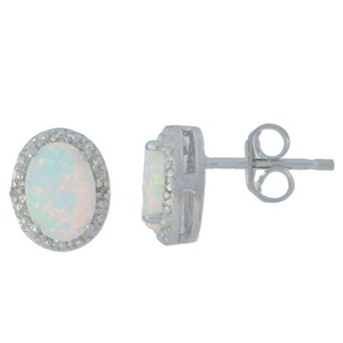 Genuine Opal & Diamond Oval Stud Earrings .925 Sterling Silver