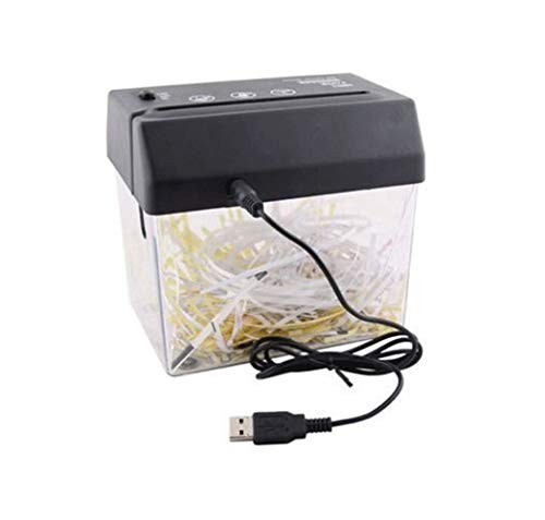 Small Office USB Electric Barrel Shredder Desktop Document Supplies Shredder Suitable for crushing counter bills/inlet size in financial and compliance systems 123mm/support A6 or A4 documents folded/