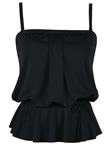 - Hilor Women's Bandeau Swim Top Blouson Tankini Swimwear Ruffle Hem Bathing Suit Top Black 12