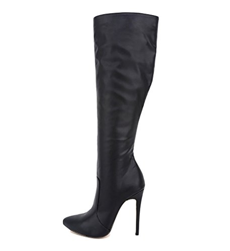 Pointed Stilettos High Coppy Leather Knee EKS High Boots Black Heels Women's Toe 5qt6WAZw4