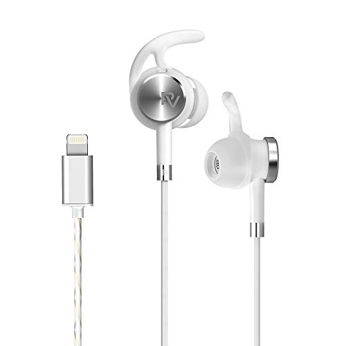 PALOVUE Lightning Earphones with Mircrophone Headphones Earbuds for Sports Workout MFi Certified Noise Cancelling Compatible iPhone 11 Pro Max iPhone X/XS Max/XR iPhone 8/P iPhone 7/P NeoFlow (Silver)