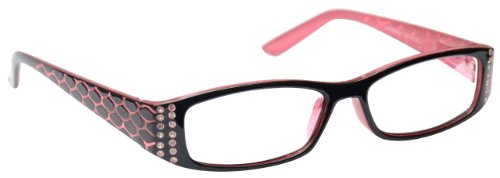 The Reading Glasses Company Pink & Black Readers Designer Style Womens Ladies Inc Bag R1-4 +1.50