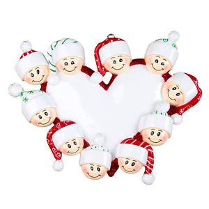 Personalized Heart Ornament Family of Ten Grandparents Gang Coworkers Team Crew