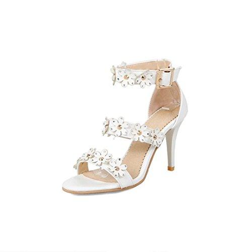 AIKAKA Zapatos de Mujer Primavera Verano Sandalias de Tacón Alto con Diamantes de Imitación White