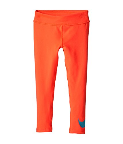 Nike Kids Girls See Swoosh Leggings (Little Kids), Hot Lava 6 ()