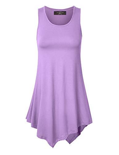 WT671 Womens Handkerchief Hem Tank Tunic Top XXXL Lilac ()