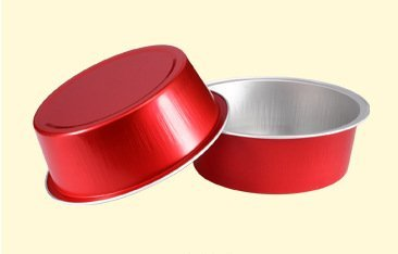 KEISEN 3 4/5'' 150ml 5oz 100/PK Disposable Aluminum Foil Cups for Muffin Cupcake Baking Bake Utility Ramekin Cup 100/PK (red)
