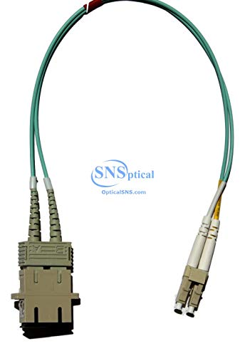 Optical SNS Fiber Optic Adapter Cable LC (Male) to SC (Female) 1ft Multimode 50/125 OM3 Duplex Hybrid Adapter