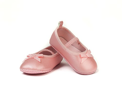 FRILLS Light Pink Ballet Flat Shoe for Newborns and Toddlers- The perfect versatile shoe for your ballerina princess! (Shoe Size Table)