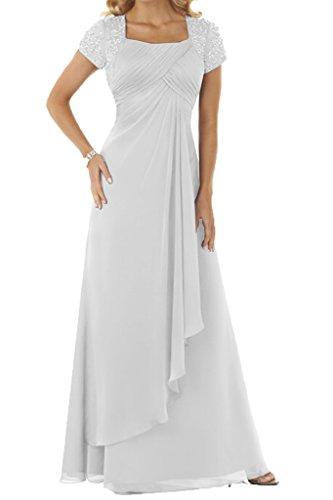 Lang Ivydressing Chiffon Ballkleid Damen Steine Beliebt Kurz Festkleid Weiß Abendkleid Aermel Mit q0Zqw6