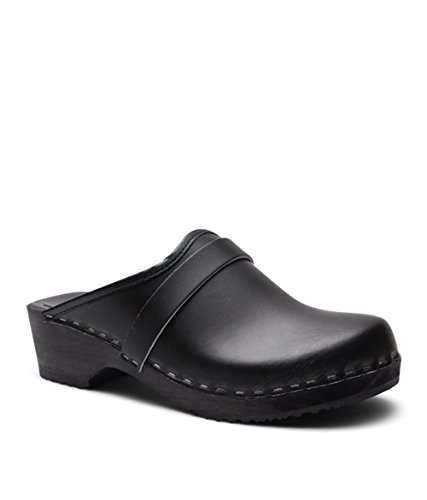 Sandgrens Swedish Low Heel Wooden Clog Mules For Women | Black Tokyo, Size US 7 EU 37