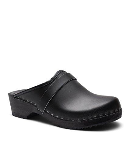 Sandgrens Swedish Low Heel Wooden Clog Mules for Women | Black Tokyo, Size US 6 EU 36 by Sandgrens