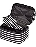 Kate Spade New York Haring Lane Joelie Cosmetic Travel Make up Case Black/Cream Stripe