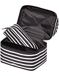 Kate Spade New York Haring Lane Joelie Cosmetic Travel Make up Case Black/Cream Stripe by Kate Spade New York