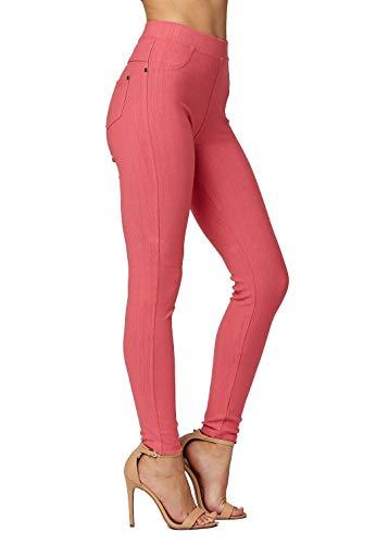 Premium Jeggings - Denim Leggings - Cotton Stretch Blend - Full Length Coral Pink - ()