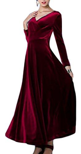 Jaycargogo Des Femmes De Velours V-cou À Manches Longues Vin Robe Swing Maxi Fête De Mariage Rouge