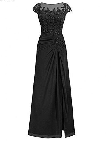 Bowith Simples Robes Longues De Soirée Robe De Bal Robe En Mousseline De Soie Noire