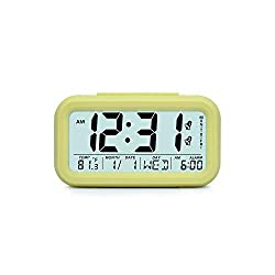 Digital Alarm Clock Student Clock Large Display Snooze Electronic Kids Clock Light Sensor Nightlight Office Table Clock,2 Alarms Day Yellow