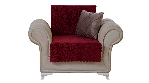 Chiara Rose Acacia Armchair Slipcover 3 Cushion Sofa Cover 1 Piece Couch Furniture Protector Burgundy