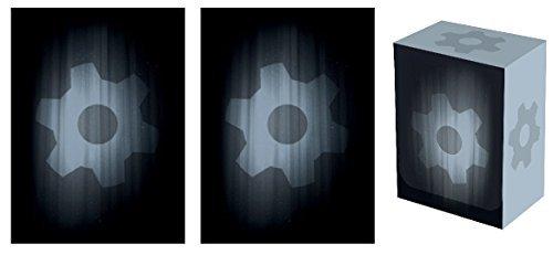 Legion SUPER iconic GEAR Deck Box + 100 Matching DOUBLE Matte Finish BLACK Sleeves (fits Magic / MTG, Pokemon Cards)