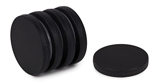Unbreakable Plastic-Coated N52 Neodymium Disc Magnets, Waterproof, 1.3 Inch Diameter, 1/8 Inch Thick. 5-Pack. Revitalizaire Strong Permanent NdFeB Rare Earth Magnets Coated with Hard Polypropylene