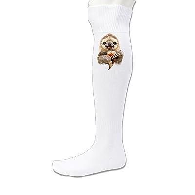 Donsir Sloth Soft Drink Unisex Athletic Vapor Crew Over-The Calf Socks White - Donsir Socks