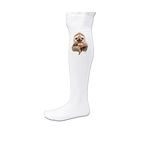 Donsir Sloth Soft Drink Unisex Athletic Vapor Crew Over-The Calf Socks White -