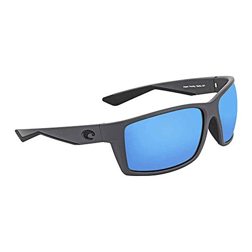 Costa del Mar Men's Reefton Polarized Blue mirror Rectangular Sunglasses, Matte Gray, 63.7 mm