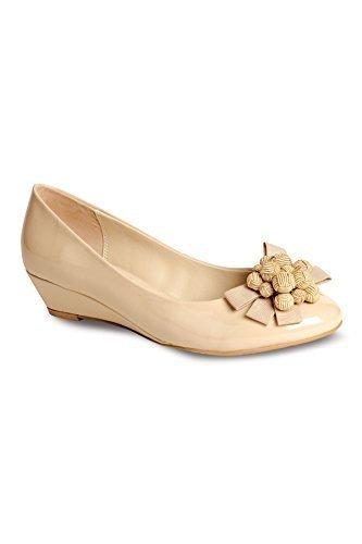 donna comodo basso da fiocco cuneo donna basso Beige FANTASIA scarpe brevetto fiori da anteriore tacco qwRFvIEf