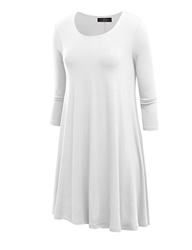 LL WDR930 Womens Round Neck 3/4 Sleeves Trapeze Dress S WHITE