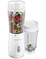 Hamilton Beach Personal Blender for Shakes and Smoothies with 2 BPA-Free Portable 14oz Travel Jars, White (51102V)