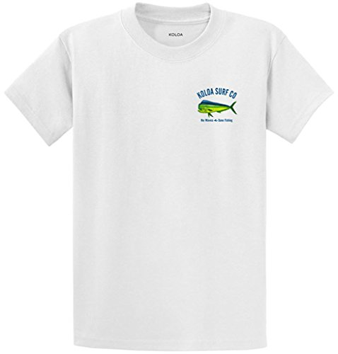 Mens New Cotton Hawaiian Shirt (Joe's USA Koloa Surf Tall Mahi Mahi No Waves Gone Fishing Cotton T-Shirt-White-3XLT)