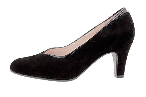 Calzado Mujer Piel 9206 Vestir Zapato Salón Confort Piesanto De Ancho Negro Cómodo 11qBrwx