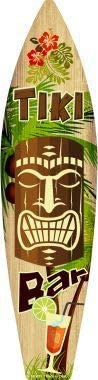 Tiki Bar Metal Novelty Surfboard Sign (with Sticky Notes)