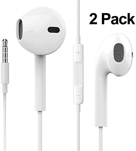 2Pack Earphones/Headphones/Earbuds, Premium in-Ear Wired Earphones with Remote & Mic Compatible Apple iPhone 6s/plus/6/5s/se/5c/iPad/Samsung/MP3(White)