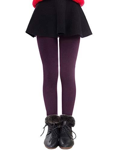 Govc Girls Winter Warm Fleece Lined Elastic Waist Velvet Stretchy Thick Leggings(Wine,M)