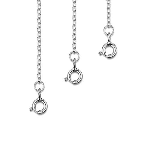 - Amberta Rhodium Plated on 925 Sterling Silver 2 mm Thick Curb Chain Extender Set for Women - Extension for Necklace Bracelet or Anket - Contains 3 Sizes - 1 inch 2 inch and 4 inch