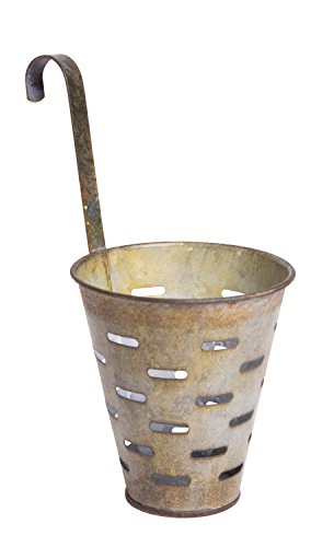 Vintage Distressed Metal Bucket with Hook, Decorative Wall Basket Planter, Hanging Flower Pot, Olive, 3-inch by Red Co.