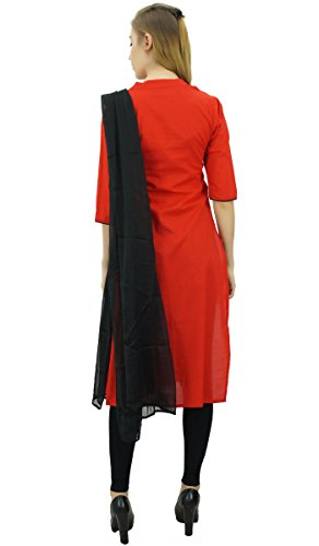 amp; Stickerei Baumwolle Gerade Rot Schwarz Frauen Mitte Kalb Kleidung Ethnische Kurti Atasi 4vqFXX