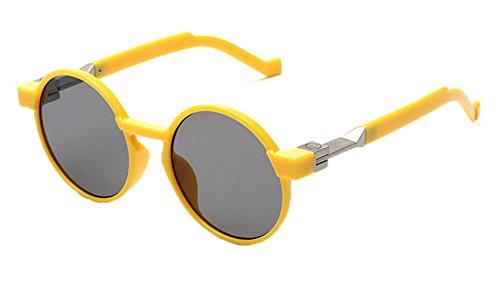 vintage et hippy de hommes cadre lunettes Jaune rond Lunettes Gris polarisé Hellomiko femmes Rétro UV soleil 7tqX55
