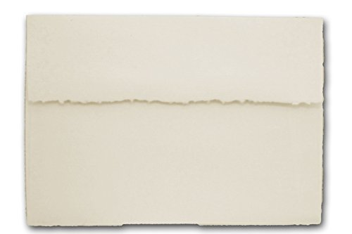 Teton Felt Finish Deckled Edge Envelopes - 25 Pack (A7-5.25 x 7.25, Tiara - Soft White)