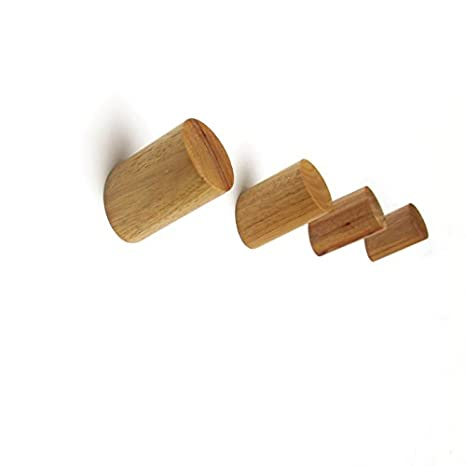 Perchero de pared de madera de roble maciza, color natural, moderno, estilo escandinavo, juego de cuatro unidades , madera, natural, 5.5X3